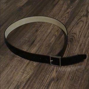 Nine West Black Leather Belt w/ Silver Buckle